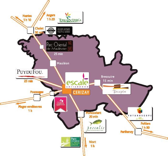 Carte des sites proches de l'escale cerizeenne